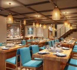 成都新都蓝贝蒸汽海鲜餐厅设计装修效