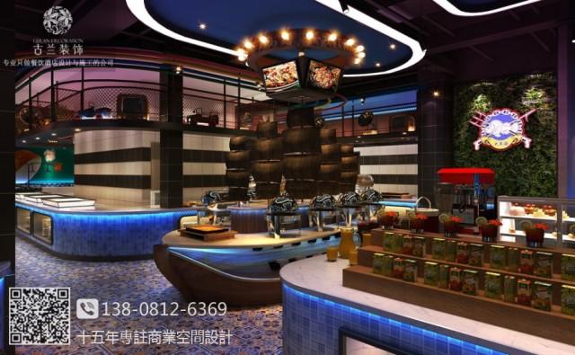 成都崇州大东海自助海鲜牛排餐厅设计装修图