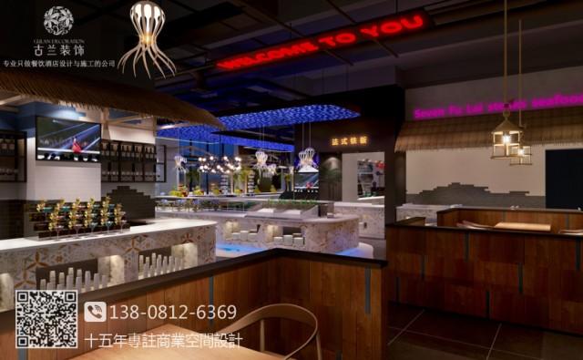 七福徕牛排海鲜自助餐厅是一家连锁品牌,龙泉东方华大广场店进行品牌升级,从原来的英伦风改变成工业酒吧风,经过市场分析定位,以及和客户沟通,最终确定在工业酒吧风格里融入东南亚材质和色彩元素,打造现代、时尚、独特牛排海鲜餐厅。