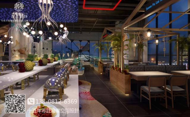 成都龙泉七福徕牛排海鲜自助餐厅设计装修图