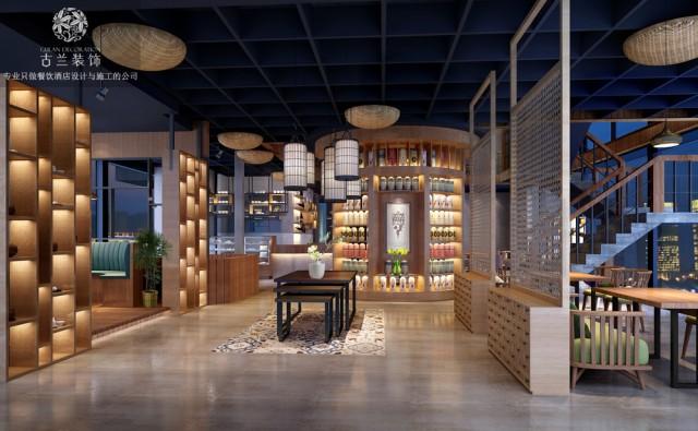邛崃餐厅设计公司的设计理念来源于台湾的民俗文化,主色调以原木为主,搭配灰白色水泥涂料,点缀民俗特色的藤编、竹文化元素,打造归隐山林、放空心灵的一种体验式餐饮休闲空间。