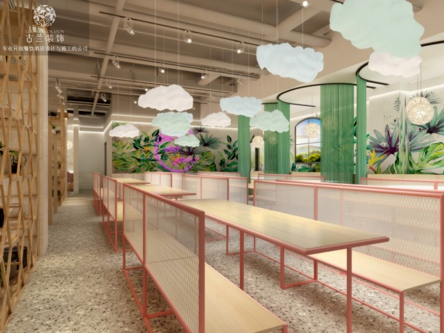 """设计说明:项目功能分为病人餐厅和职工餐厅两部分,中间搭配鲜花水果超市!本案针对医务人员和病人及家属的心理和生理需求分析,通过色彩分析运用白色,浅蓝色,浅绿色,浅粉色等搭配,充分体现我们餐厅的正能量精神传递与人文关怀,综上所述:我认为餐厅项目设计定位为:商业思维+创意设计+人文关怀核心理念:一个字""""爱""""餐厅可以延伸概念为""""有李(你)有爱""""风格定位:人文关怀,正能有爱,现代简约,文艺时尚,主题特色,体验互动,多功能音乐花园餐厅突破对""""中式快餐厅""""的固有模块化的生搬硬套,打造一个有主题体验,人文关怀,社会责任的生活餐厅体验馆"""