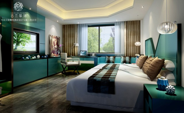 能上古兰装饰公司设计做出大胆改革.每个房间在设计时采用,现在主流酒店能用的到主题风格,商务风格,新加智能家具等