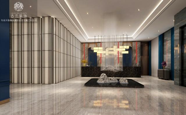 门头是酒店的档次的体现,大气的门头设计彰显了酒店的气质,让客人能感受到有面。步入大厅,首先感受到的是酒店恢弘大气,在整体木色调的空间中,穿插着红蓝的搭配,让客人能够有热情好客的感受。酒店独特的装置连接着屋顶与地面,让客人能够感受到生命的质感。