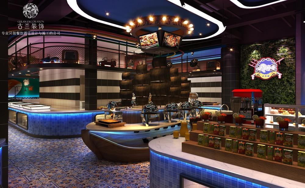 设计说明:大东海自助海鲜牛排餐厅主要设计元素是工业风和夜店风。将二者现在受年轻人青睐的风格结合起来。再融入餐饮的元素结合海鲜的主题。打造了一个梦幻的海鲜世界,视觉冲击力强,深受年轻客户群体喜欢。