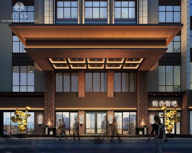 设计说明:盘州拥有古银杏,也被称为世界古银杏之乡,这里还是云贵交通、能源、商贸、物流、旅游的重要节点,由古兰装饰酒店设计的六盘水蓝山一品酒店,就位于此。古兰装饰酒店设计师在酒店中添加一些银杏元素,每一处细节都经过用心的铺排,传递着自然雅趣的格调。门头是酒店的档次的体现,大气的门头设计彰显了酒店的气质,让客人能感受到有面。步入大厅,首先感受到的是酒店恢弘大气,在整体木色调的空间中,穿插着红蓝的搭配,让客人能够有热情好客的感受。酒店独特的装置连接着屋顶与地面,让客人能够感受到生命的质感。设计师在装饰上,将银杏叶装饰其中,整体感觉休闲舒适,安全惬意。让置身其中的人感到格外放松与惬意。客房设计清雅简约,清浅的颜色勾勒出整体空间的雅净氛围。床头背景以及墙面挂画均采用银杏的元素,体现出古银杏之乡的美景