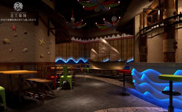 《West Bay海鲜餐厅》本案位于成都市内,餐厅内运用夏威夷海边的酒吧,茅草屋和海洋元素作为餐厅的设计的主线。通过造型和色彩打造一个全新的用餐体验空间。成都专业餐饮店设计及装修公司设计,装修设计
