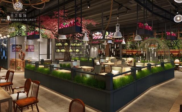 《斧牛记养生牛肉汤锅店》成都时尚工业风格餐厅装修效果图,