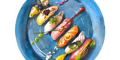 美味的食物水彩插画欣赏