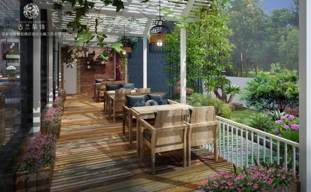 露台是真正让人心旷神怡的地方。白色花架,既装饰了餐厅,也起了间隔的作用,使餐桌之间有一定的私密空间。木制地板,搭配各种绿植,再加上在半空悬挂的绿枝,这里宛如绿植鲜花店一般,绿植围绕的地方设计了悠闲的座椅,在这里休憩是在适合不过的了。