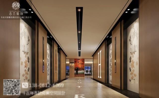 在整个大堂空间,设计师将枫叶的主题、颜色融入其中,让客人步入酒店就能感受到一份温暖,水墨的背景墙点缀了整个空间,让空间更加丰富。