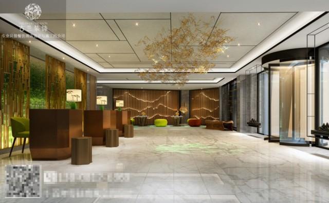当客户从外部走到酒店大厅的时候,就会置身与一个山与竹的空间,通过栅格和灯光的形式让酒店客人从大厅就能感受到酒店的文化气息,灯光透过木栅格所展现的山也和大厅的精致交相呼应,让整个空间充满艺术氛围的同时,也不失酒店的优雅。