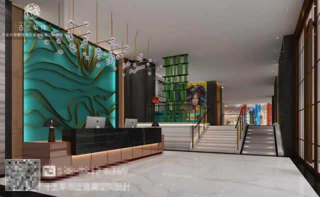 江安,有着深厚的文化底蕴,有很多传统文化。江安栖嘉酒店就位于此,在深厚的文化底蕴中孕育而生。酒店的入口是对外的一种形象,是酒店所蕴含气质的最佳呈现,古兰装饰酒店设计团队在对酒店进行设计时,运用简单的手法直接体现出酒店的格调。