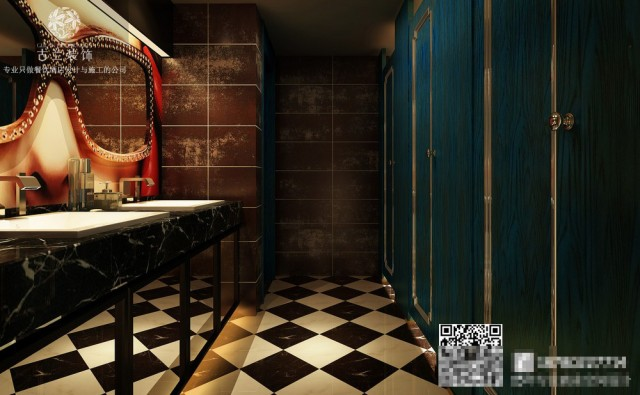 卫生间具有艺术性质的眼镜状镜面 让卫生间的档次瞬间提升