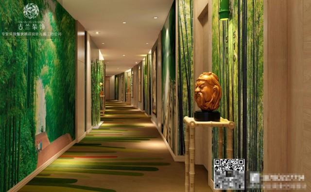 """翠绿色从面壁中""""溢出来"""", 通过线条和灯光氛围的营造将走廊层次感做足,自然而赋予灵动性, 给酒店宾客极致的入住体验。"""