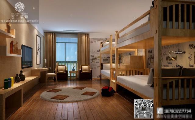 房间里有上下床、竹椅等,简单的颜色, 全是淡黄色明清风格的家具,白色的抱枕, 简洁但又注重客人使用的舒适性, 很有古代乡舍的氛围。