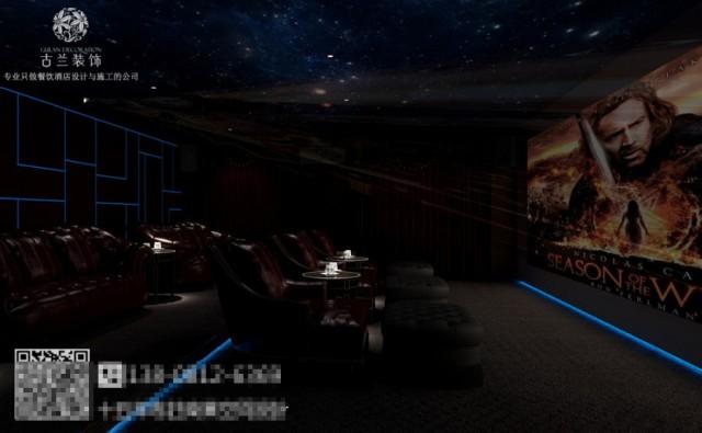 影院中的灯光是重点,流线型的光线和屋顶的星空布置相得映彰,与暗红家具相搭配,绝对会唤起你的热情。