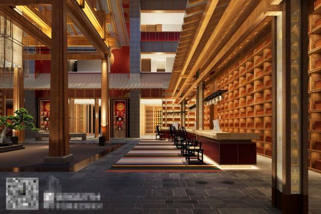 康定锅庄温泉度假酒店接待区设计-自贡酒店设计公司