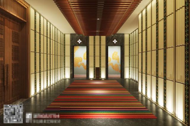 开阔空间中的唯一装饰,让整个空间都弥漫着文化韵味,隐隐可见另一个空间,让空间更加开阔,营造出清通灵透之相。
