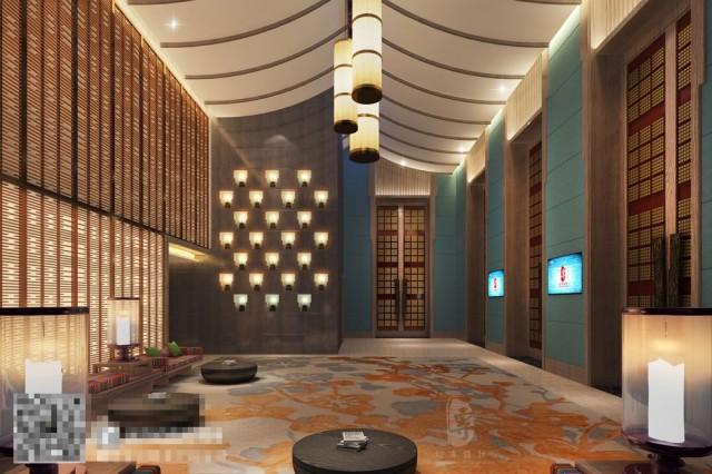 康定锅庄温泉度假酒店过道设计-自贡酒店设计公司