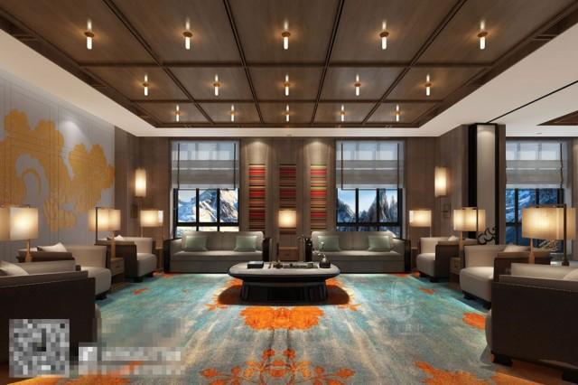 康定锅庄温泉度假酒店茶艺休息区设计-自贡酒店设计公司