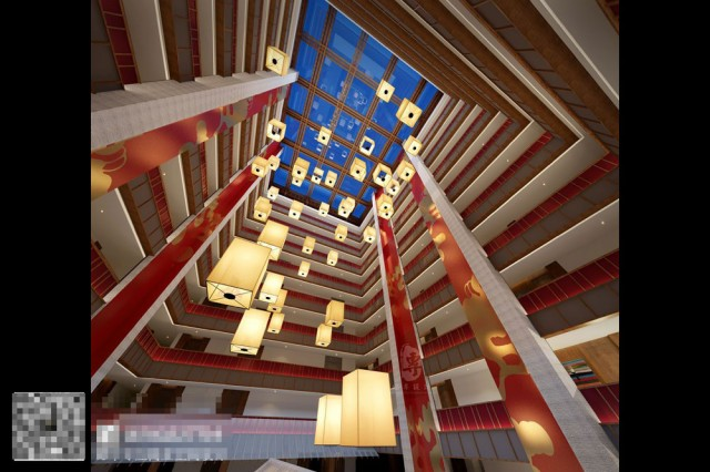 康定锅庄温泉度假酒店天井星级酒店设计-自贡酒店设计公司