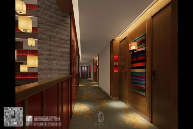 康定锅庄温泉度假酒店电梯厅设计-自贡酒店设计公司