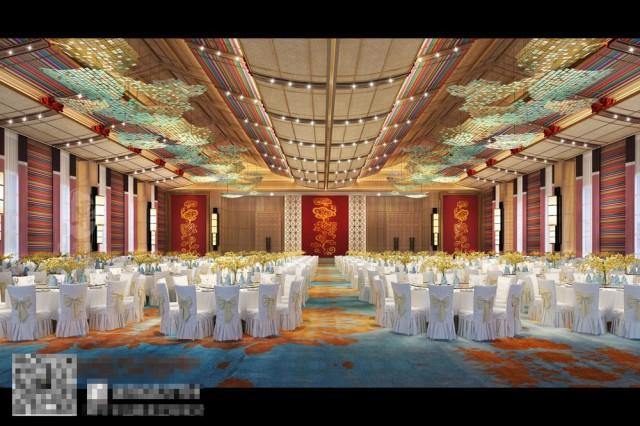 酒店也设立了接待厅、宴会厅、会议室等一些对外场所,为客人提供不同的服务,自贡酒店设计公司对这些空间进行了大胆的设计,用独特的设计理念,将藏艺术元素融入其中。