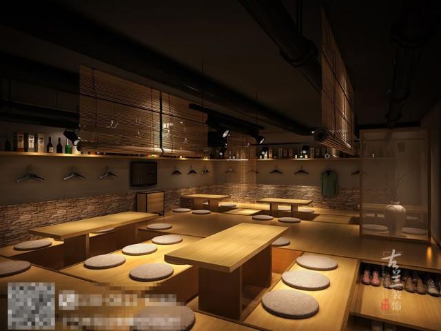 """本案餐厅设计体现了日本对烹饪艺术的执着和对完美的追求,在优雅和情绪饱满的氛围中体现出来本餐厅设计采用的主题效果。传统的日式设计,更多是以日本自古以来的情愁、冷艳为主色调,追求优美和冷艳的感情世界,以黑白色强烈的对比,大量研究调查,用灰色写实性的手法来调和和体现一种""""意境""""。"""