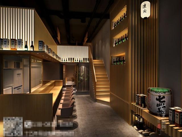 本设计延续了传统日式风格的元素,同时采用了现代的设计手法,门口接待和吧台运用大量的木质材料、石材等现代装饰材料进行空间打造,并且还与传统日式元素相结合,如包间的木质隔断、木质餐桌、日式门帘,日式餐厅多元性的设训和文化概念,时尚脱俗,色彩明快,和风煦语,春暖花开.