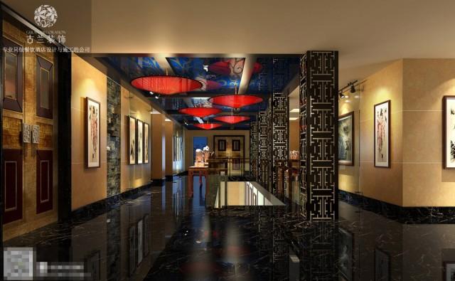 """该项目乃成都市三大历史文化名城保护街区之一的""""宽窄巷子""""中心地段""""宽蓉会馆""""。""""宽蓉会馆""""通过国家级书画、刺锈、古典家具、摆件、挂件、玩件、皮影等民俗文化遗产为物质依托,以中国当代知名大家作品与艺术思维为传递,整合海内外华人民俗物质与非物质文化资源,旨在全世界范围内,培育艺术品投资土壤,培养、帮扶艺术品创作人才成长与融入,搭建专业级的交流平台,使之成为业界艺术品创作、交流、投资三位一体的的泛文化权威整合平台。该会馆以采取历史文化博物馆与商业展示活动空间相结合的""""泛博物馆""""概念为设计构思中轴,贯穿整个方案之设计。该项目分三层,总面积1600平米。根据""""泛博物馆""""之理念,一层被定性为博物示与文化艺术品买卖的商业空间。入户分别为皮影戏展馆、观音绣品区、珠宝玉器区、陶瓷区、中庭休闲活动区、艺术长廊区、茗雕茗画等区。充分展示会馆内产品的历史性、艺术性、文化性、商业性价值。其中,靠近窄巷子与井巷子方向外墙采用通透式幕墙玻璃橱窗设计,既增加空间透气感,也能让窄巷子游人感观到会馆内部的人气与精美商品,增强游人的参观与购买欲望。同时艺术长廊方向与窄巷子方向之间视线交汇处,特别为其设计了一个观音绣绣娘刺绣平台,游人既可以欣赏美丽绣娘优雅的针绣技能,同时也可以与美丽绣娘进行互动拍照留念,进一步提示我们会馆的人气。二层定性为业界艺术品创作、交流品鉴包间。不同包间分别为陶瓷、珠宝、玉器、字画、雕刻品等不同的主题体念馆式包间,方便业界人士对艺术的交流与探讨。三层因现有建筑结构条件有限,定性为露天有氧休闲区。同时回顾一、二层空间,在整个会馆中缺少一个接近自然,亲近自然,融入自然的有氧绿色空间,故而将三层定性为一个有氧休闲区。等高而望远,心境无尽轻松与开朗。"""