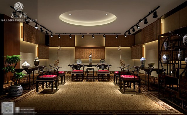 茶楼内灯饰的颜色,形状与空间的搭配,可以营造出和谐氛围,吊灯选用引人注目的款式,可对整体环境产生很大的影响。赏心悦目的布置能增加整个空间的能量,提升经营者的运势。