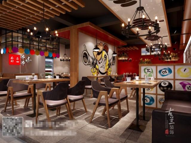 本客户是痴串串品牌升级店,以桌球,时尚元素为基础,以鲜亮的红色带动空间的气氛,在加上绿植软装配饰,缓冲视觉,最后完整的空间。