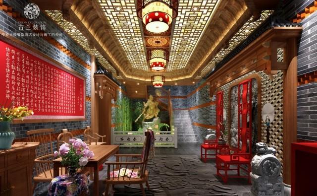 红色为空间带来一种热情,一种活力。因为随处可见的中国红让不少人倍感自傲和精神!室内装饰为空间增加典雅的气氛,桌椅颜色与整体格调形成强烈对比,宛如画龙点睛一样。