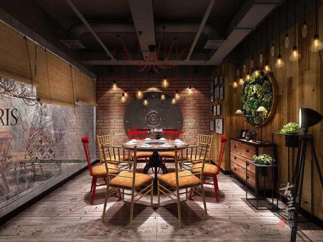 通过环境光的打造,配合复古工业风的隔断元素,将整个空间打造出适宜年轻人的基调。在色彩上注重红黑色系的搭配处理,结合VI,在室内设计上突出品牌形象展示,以加强品牌塑造。