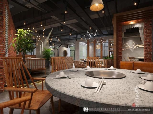 """在项目开始之前设计方对项目当地周边火锅店进行了考察,发现在当地的火锅店基本上是以传统川西民居风格和当下比较流行的花园式火锅为主,甲方也想把自己的火锅店做得更有特色,在当地具有一定的代表性,综合以上因素设计团队借鉴了目前在大城市生意比较好的一些火锅店风格对其进行适合的融合,创造出了属于""""悦辣""""品牌在南充独有的风格,庭院式的场景布置,传统的过道化作漫步其中的景观小道,原始的红砖水泥隔墙显得古朴自然,中间的镂空窗洞使起既能起到隔断的作用又能有通透借景的作用。"""