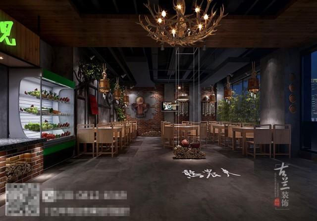 本案原本就是一家火锅店,因为客户要品牌与经营模式,故而从新店面环境升级。憨农夫这个名字的潜在寓意为新鲜,原生态,绿色,健康等。
