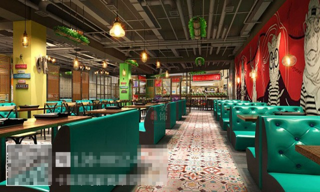 灯光以暖色为主。同时利用智能空间调控系统来增加店内的就餐体验,让顾客在点餐、等餐以及就餐的过程中,体验到吃饭的乐趣,以达到最大化留住客源的目的。