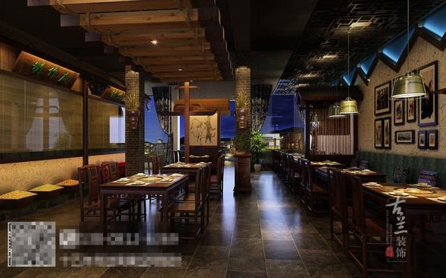 """重点突出""""苗乡土牛""""----做贵州地方特色的民俗餐厅,结合贵州建筑、服饰艺术打造属于本土的民族特色的火锅中餐结合的民俗餐厅。"""