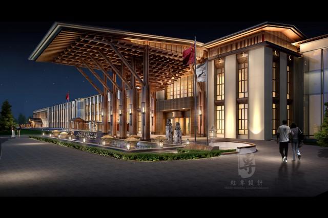 项目名称:九黄湾国际温泉度假酒店  项目地址:四川省松潘县川主寺机场接待中心对面  设计说明:在川藏线的迷人景色吸引着无数向往自由和美景的旅客,而近两年国家的旅游政策更是将这条线上的旅游热推到了一个新的高度,在这样的大环境下面,也让旅游业的下游产业迅速发展,许多的投资人都将酒店作为热门投资方向;在这样的大环境下,众多国际知名品牌酒店的围攻下,四川意合道旅游资源开发有限公司与红专设计携手共同努力运作的九黄湾国际温泉度假酒店落地在川主寺九黄机场旁,便利的交通条件和极具融合的创意设计,都让它在建造过程中就备受关注。