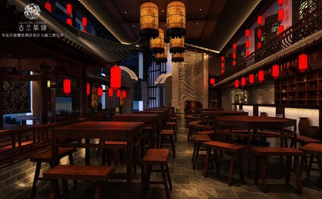 本案分为了宴会厅大厅区域和包间区域两个部分。项目共有一个大厅、四个包间、男女公共卫生间、储物室、厨房、备餐间等功能区域。