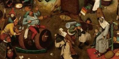 布鲁格尔绘画欣赏,四旬斋的庄严与狂欢节的乐趣和愚蠢形成对比