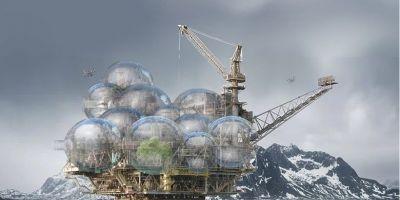 大海中的房子,建筑師把海上石油鉆塔的相關圖片