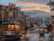 """旧金山波光粼粼的""""海湾城市""""油画,除了美还是美"""