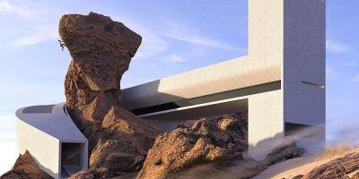 """沿天然岩石打造,这个""""沙漠中的房子的相关图片"""
