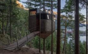 森林陡坡上的挪威树屋,给你独特的居住体验