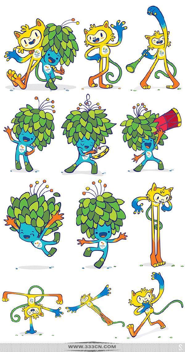 11月23日,里约奥组委公布了2016年里约奥运会和残奥会吉祥物,两个吉祥物分别代表了巴西的动物和植物!黄色的里约奥运吉祥物代表巴西的动物,其中有猫的灵性,猴子的敏捷以及鸟儿的优雅;蓝色的里约残奥吉祥物的设计灵感来自巴西热带雨林的植物,体现出桑巴国度的热情与奔放。